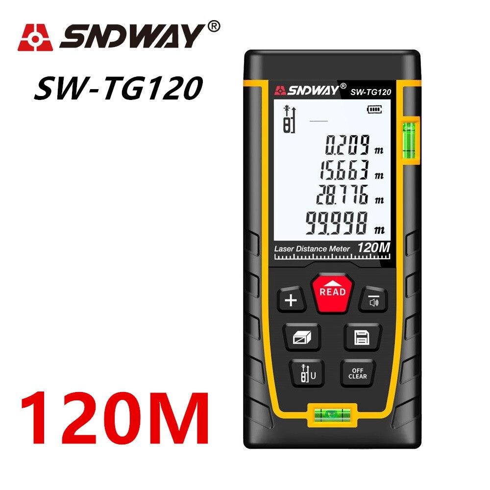 Medidor de distancia láser SNDWAY 100 M 120 m 70 M 50 m láser telémetro trena láser cinta métrica regla ruleta herramienta