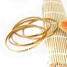 Fashion Tian Gang Jewelry 5PCS Lot Shiny Gold Plate Stainless Steel Round 68MM Bangle Bracelet Jewelry