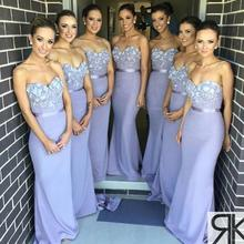 Long Chiffon Lavender Bridesmaid Dresses 2016 Mermaid Cheap Bridesmaid Gowns Long Maid Of Honor Dresses Wedding Party Dress C69
