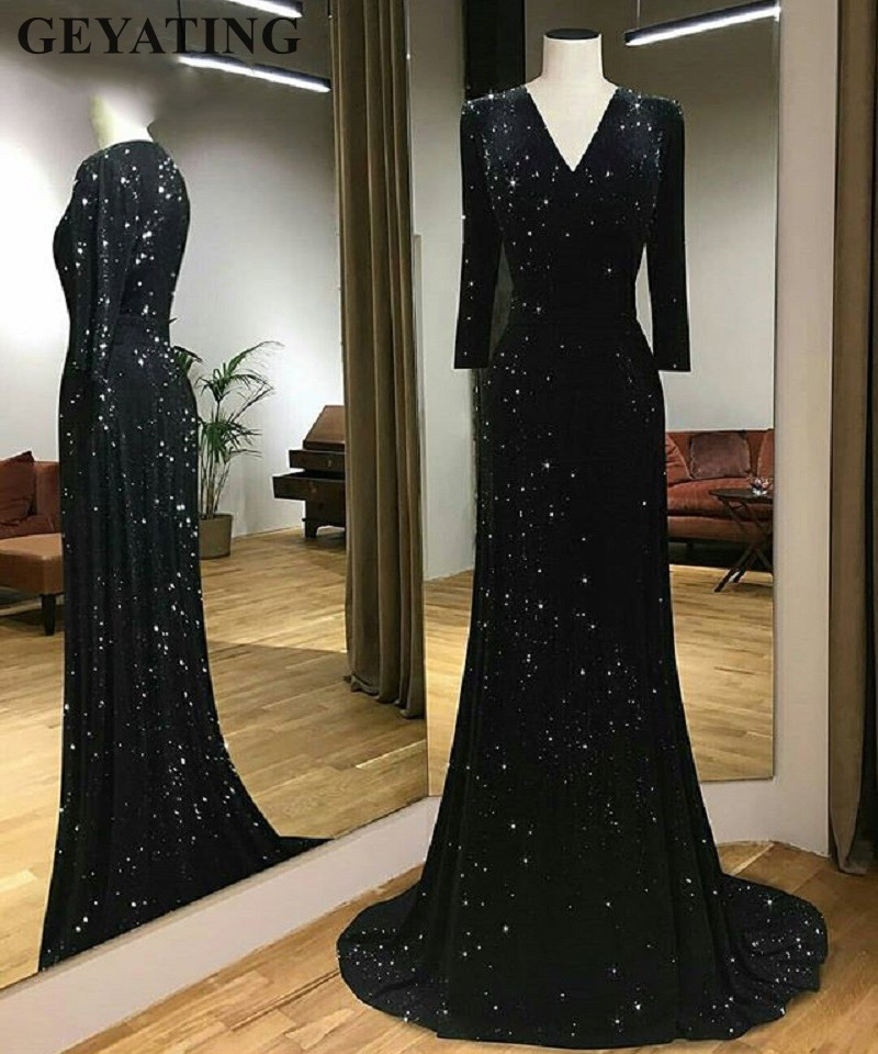 Sparkly Black Sequin Mermaid Evening Dresses Long Sleeves 2019 Elegant V-neck Plus Size Women Formal Party Gowns Long Prom Dress