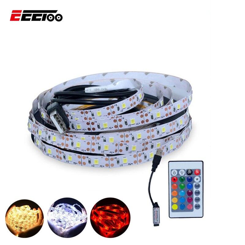 EeeToo USB Cable Power 5V LED Strip Light RGB White Warm White 2835 SMD TV Desktop PC Backlight Lighting 0.5M 1M 2M 3M 4M 5M Led