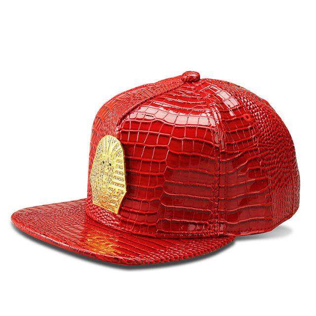 2016 Couro De Crocodilo Snapback do Boné de Beisebol Da Liga Cabeça Faraó Homens Do Logotipo Da Marca Mulheres Faux PU Hip Hop Boné Vermelho/preto/Prata/Ouro