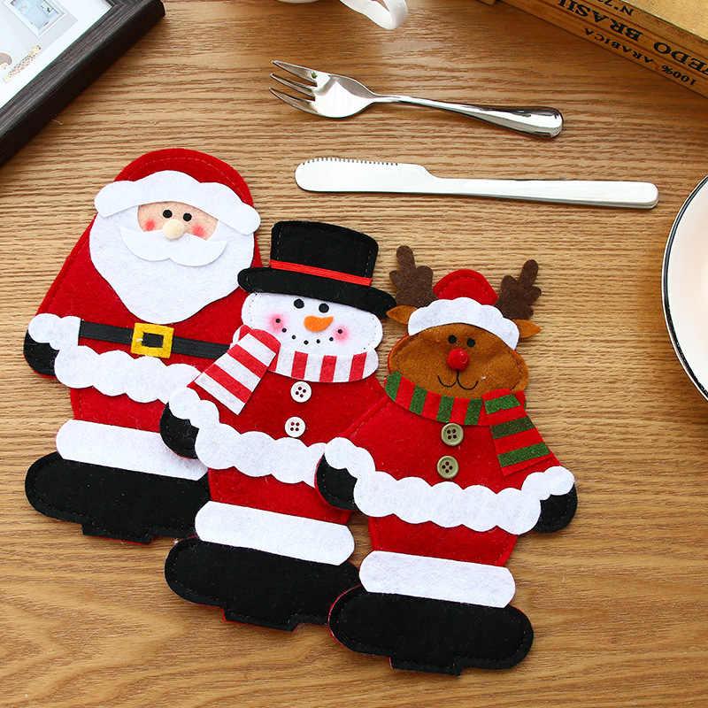Santa Mũ Tuần Lộc Giáng Sinh Năm Mới Bỏ Túi Dao Muỗng Nĩa Dao Kéo Giá Đỡ Túi Nhà Đảng Bàn Ăn Tối Trang Trí Bàn Ăn 62253