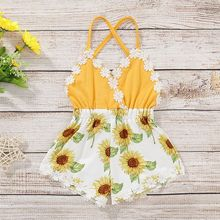 Baby Newborn Girls Backless Jumpsuit Sleeveless Floral Print Romper Infant Casual Bodysuit Outfits black floral print drawstring sleeveless romper