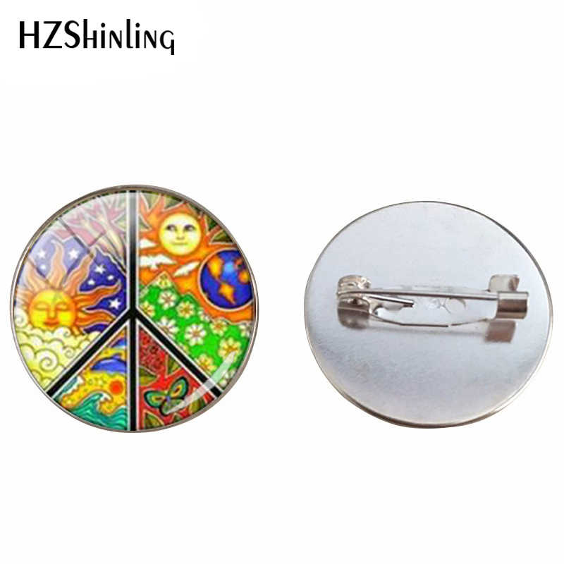 Baru Fashion Hot Sale Hippie Sign Kaca Cabochon Perhiasan Kaca Cabochon Bros Retro Gaya Hippie Perhiasan Bros Pin