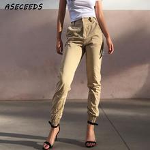 Pantalones negros de Camo de cintura alta Pantalones de mujer Capris cadena Cargo Pantalones de mujer camuflaje moda coreana