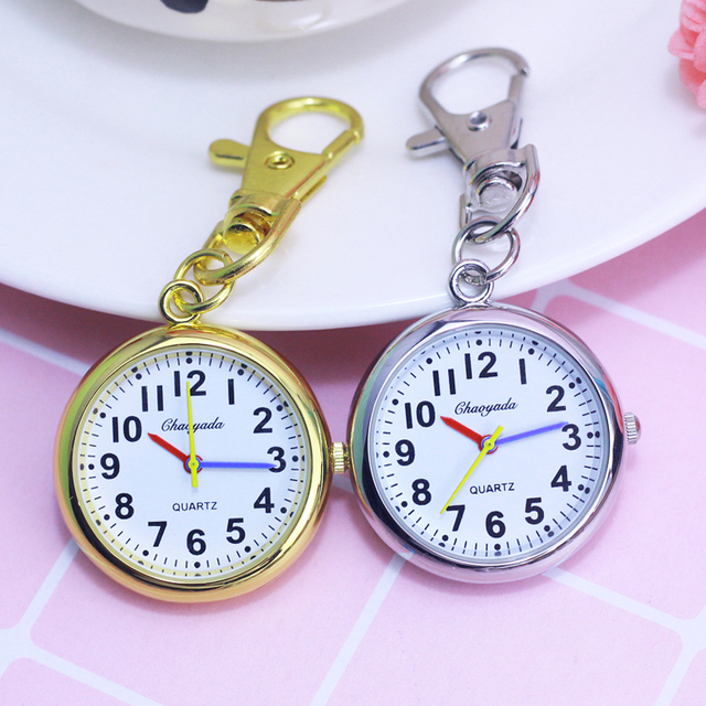 2018 CYD women men kids pocket watch students test quartz clock key chains nurse