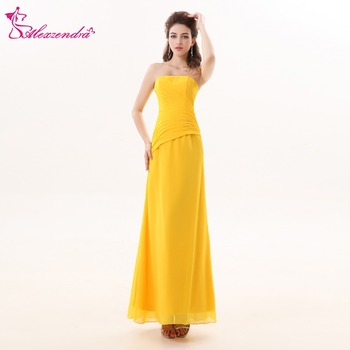 Alexzendra Yellow Long Chiffon Simple Bridesmaid Dress for Wedding Pleats Strapless Party Dresses Plus Size фото