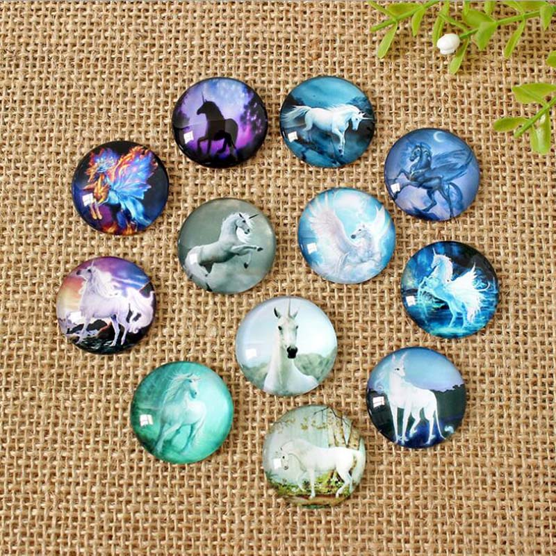 60pcs/lot Mixed Round Flatback Unicorn Photo Glass Cabochon 8mm--35mm Accessories Fit For DIY Jewerly