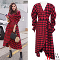 2017 european high fashion women red plaid dress pétalo manga cuello en v a cuadros asimétrica diseñador mujer vestidos elegantes 2090