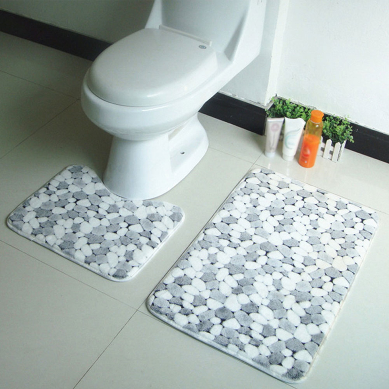 2pcs/set Thicken Shower Room Floor Lavatory Bath Mats Non Slip ...