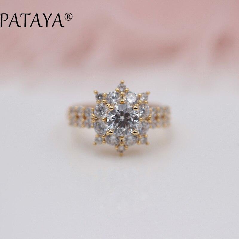 PATAYA New Arrivals White Sunflower Round Natural Zirconia Rings 585 Rose Gold Ring Women Luxury Trendy Wedding Party Jewelry