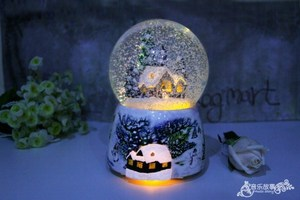Image 4 - Christmas Snow Globe Snow House Crystal Ball Rotate Light Voice Control Music Box Castle In The Sky Birthday Gift for Girlfriend