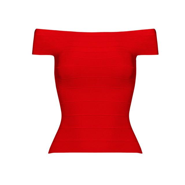 O Envio gratuito de Novas Mulheres Moda Verão 2016 Top Vermelho Fora do Ombro Bandagem Elástica de Alta Qualidade Tops