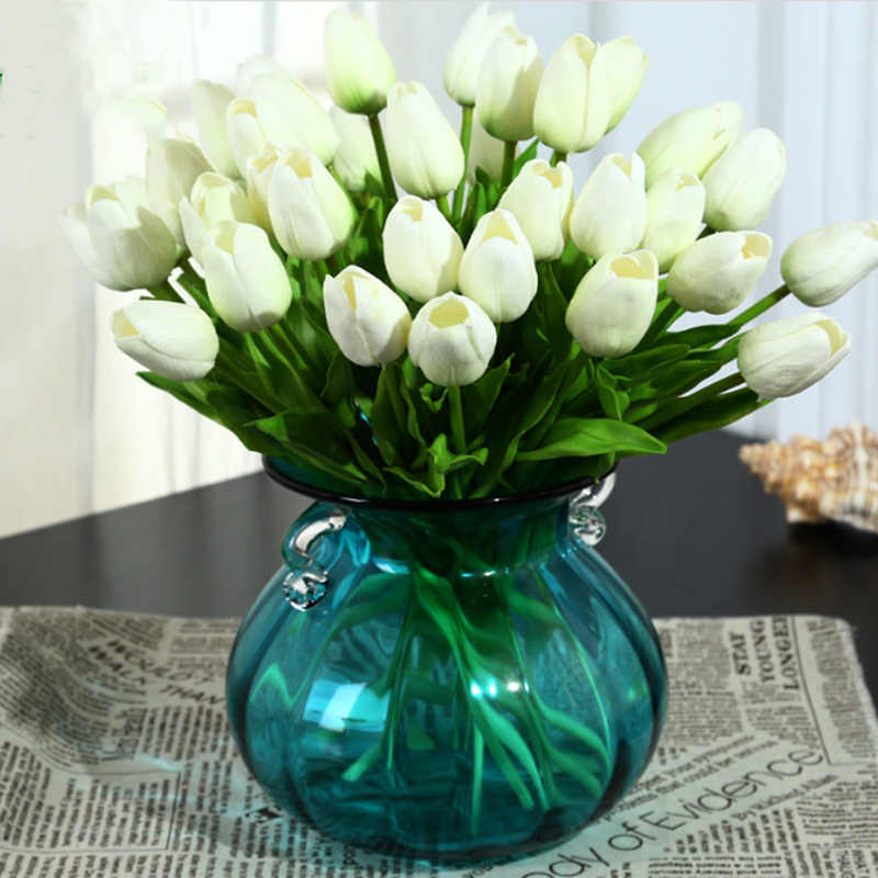 20pcs Lot Pu Tulip Flower Real Touch Wedding Flower Bouquet Artificial Flowers For Home Birthday Party Decoration Artificial Dried Flowers Aliexpress