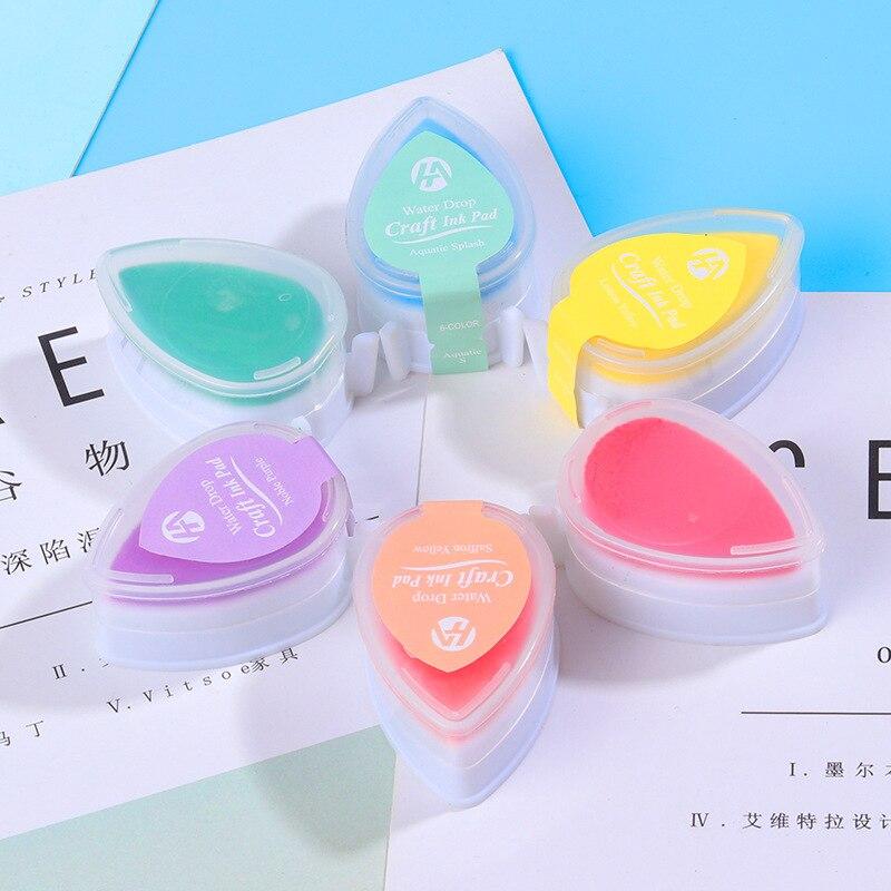 6pcs/set Japanese Ink Stamp Pads  For Children Water Droplets Inkpad Colorful Ink Pad Kids Favors DIY Scrapbooking Drop Shape