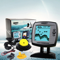 English Russian Menu! LUCKY 2 in 1 Wired& Wireless Fishfinder 540ft/180m Depth Sounder Fish Detector Monitor