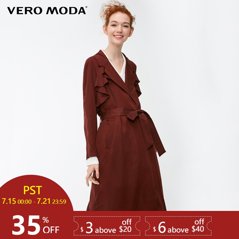 Vero Moda 2019 New Women's Lapel Ruffled Trims Adjustable Sleeves Long Wind Coat   Trench   Coat | 318321521