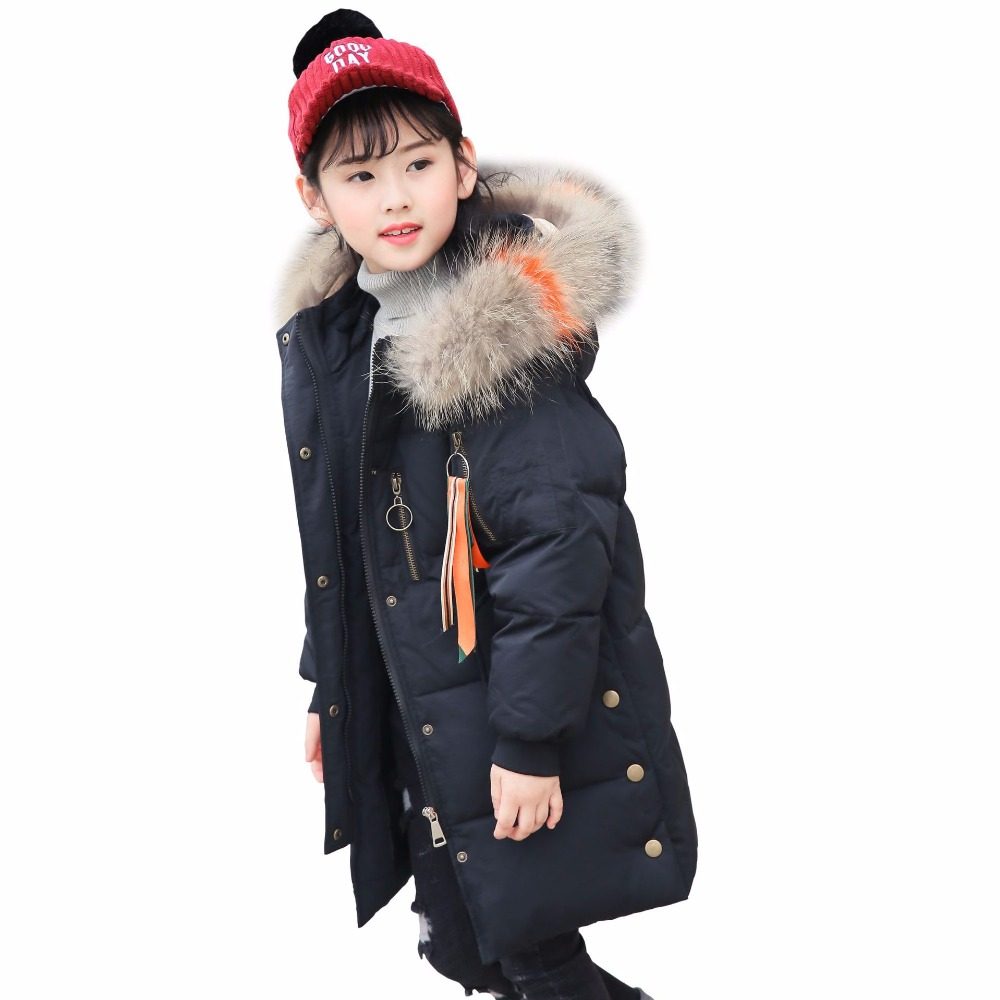 New 2018 Russia Winter Jacket Girls Winter Duck Down Coat Kids Warm Parka Thick Fur Collar Hooded Long Coats For Teenage 6-14Y fashion long parka kids long parkas for girls fur hooded coat winter warm down jacket children outerwear infants thick overcoat