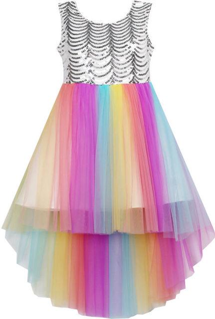 Ensolarado Flor Moda Vestido Da Menina de Malha De Lantejoulas Vestidos de Festa de Casamento Da Princesa de Tule 2016 Verão Crianças Roupa Tamanho 7-14 Pageant