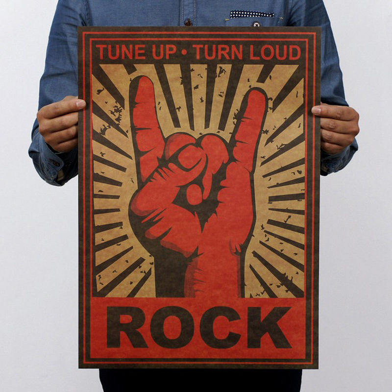 Free shipping, mano cornuto/Black Sabbath/Continue rock and roll/kraft paper / Retro Poster/decorative painting 51x35.5cm