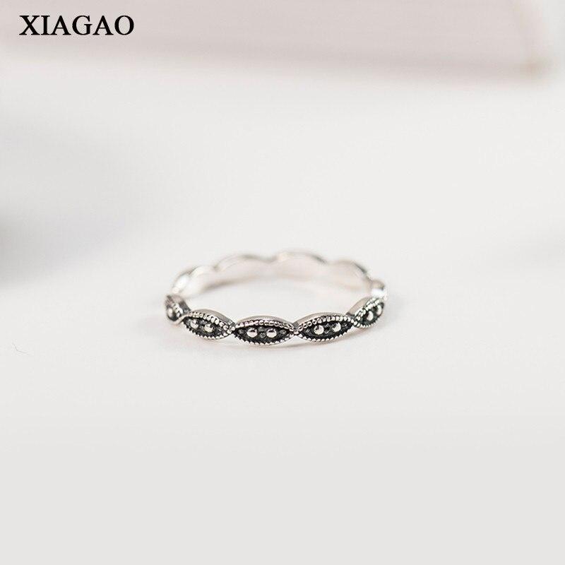 XIAGAO Vintage Korean Style 925 Sterling Silver Rings Twist Braided Adjustable Band Original Rings Women Party Jewelry AART0079