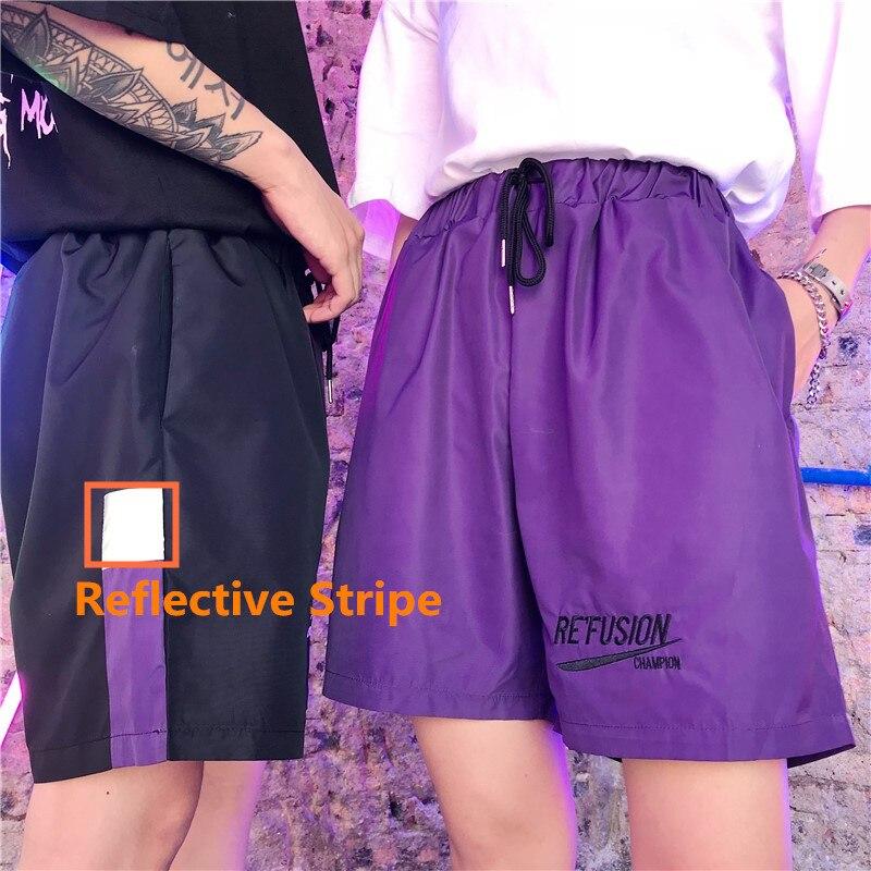 Reflect Light Casual Black Shorts Thin Loose Shorts Drawstring Knee Length Summer Streetwear Luminous Female Shorts