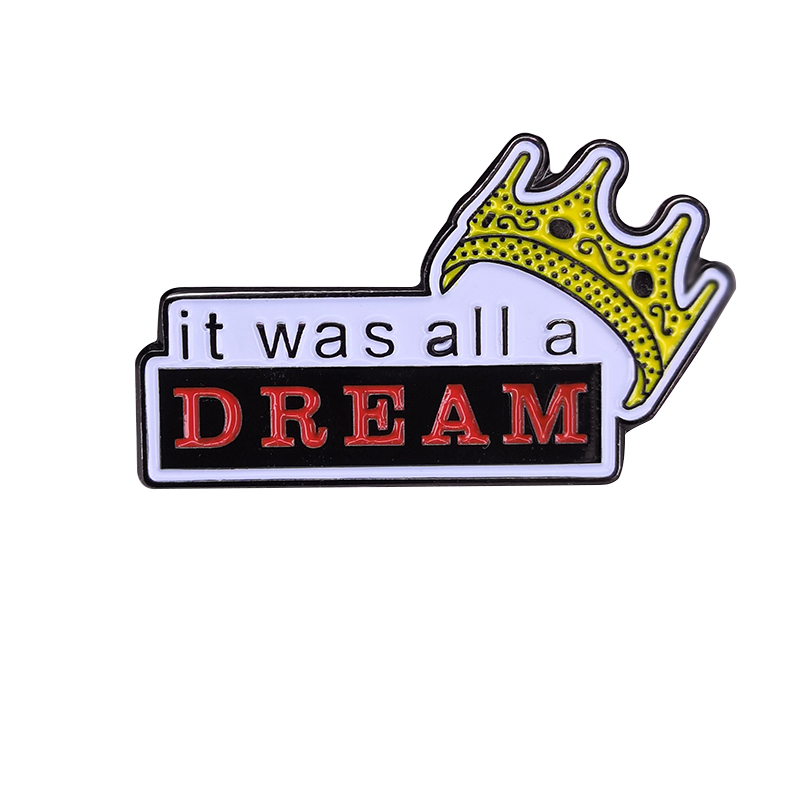Biggie Smalls Pin Notorious BIG Badge <font><b>Gangsta</b></font> Rap Hip Hop It was all a dream Brooch image