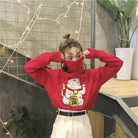2018 Autumn Harajuku Women Sweaters Loose Knitted Cute Lucky Cat Pattern Christmas Sweater Long Sleeved Pullovers