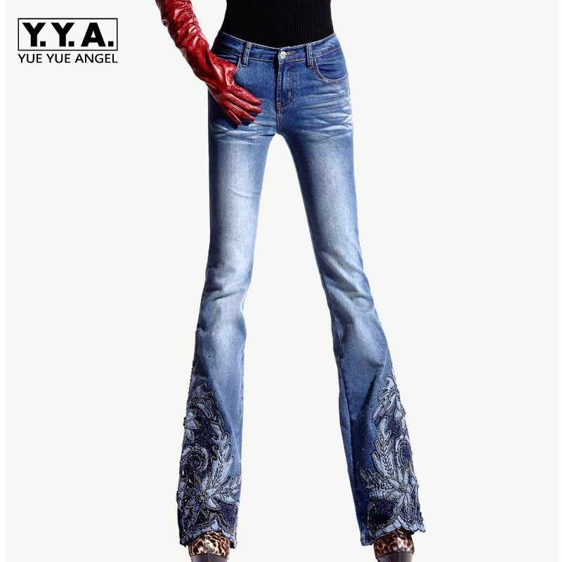 0207cf38c8 Spring Luxury Beading Embroidered Mid Waist Big Flared Jeans Female Boot  Cut Embroidery Lace Bell Bottom