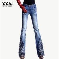 Весна Роскошные Бисер вышитые середине талии большой расклешенные джинсы женский загрузки вырезать вышивка Lace Bell джинсы с кроем для женщин