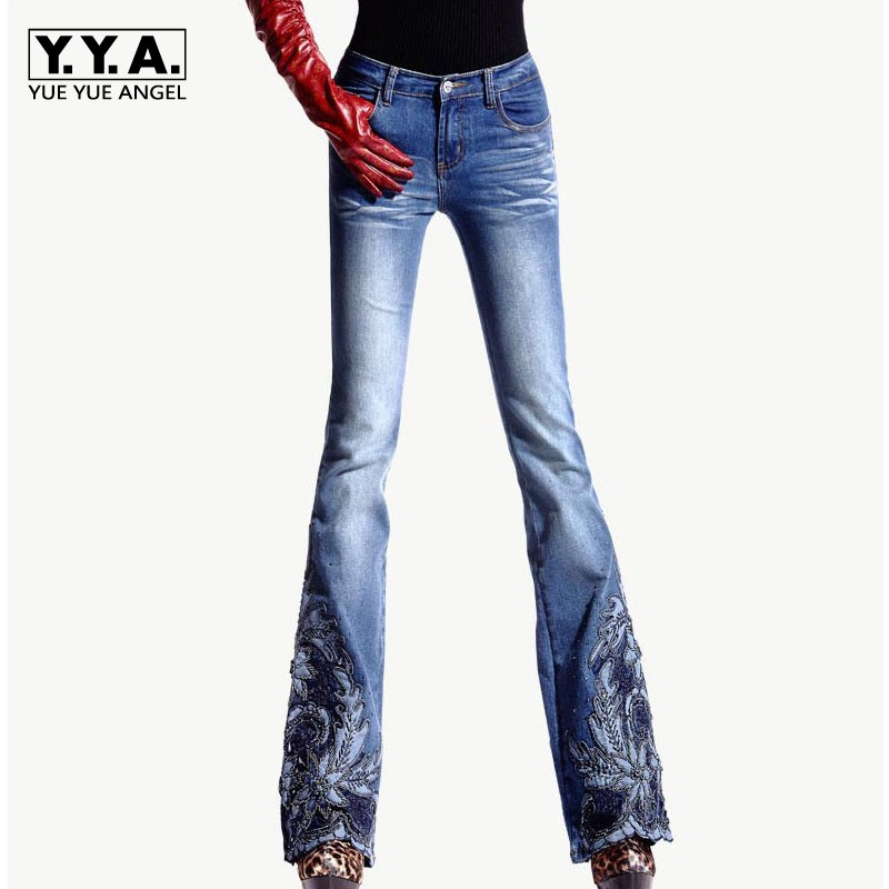 Spring Luxury Beading Embroidered Mid Waist Big Flared Jeans Female Boot Cut Embroidery Lace Bell Bottom Jeans Denim Trousers 2017 spring new embroidered jeans color embroidered national wind low waist jeans trousers