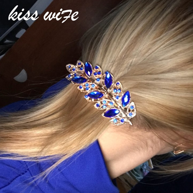 KISSWIFE 1 PC Beauty Women Fashion Hair Clip Leaf Crystal Rhinestone Barrette Hairpin Headband hair accessories 5 colors