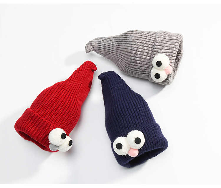 b9b7cf8b885 ... KNB025 Funny Kids Winter Knitted Hat Cute Pokemon Cartoon Wizard Eye  Shape Curled Knit Cap Bonnet ...