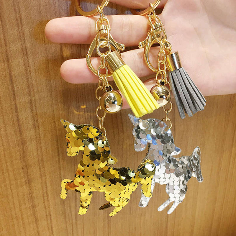 Cute Unicorn Keychain Glitter Pompom Horse Sequins Key Ring Gifts For Women  Llaveros Mujer Charms Car Bag Accessories Key Chain-in Key Chains from  Jewelry ... e990ce4194