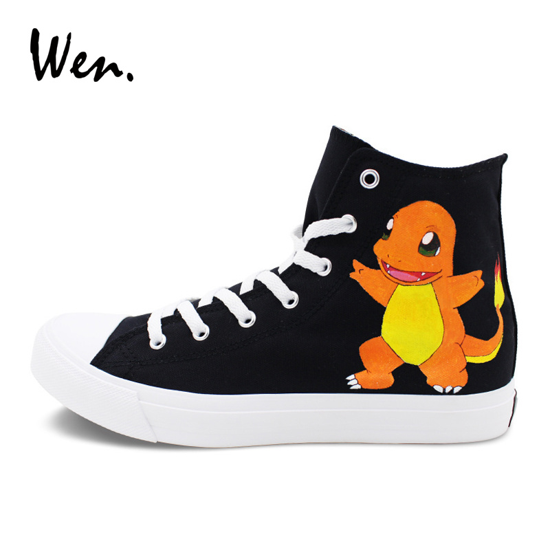Wen Custom Design Pokemon Shoes Charmander Hand Painted Canvas Sneakers Black Color High Top Unisex Skateboarding Shoes