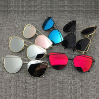 Newest Fashion Cat Eye Sunglasses Women Twin-Beams Stylish Lady Flat Plane New Brand Designer Mirror Sun Glasses UV400 F006