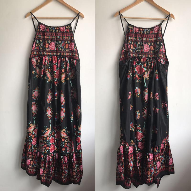 Beach Dress Women Summer Etehnic Sexy Retro Print Vintage Dress Sleeveless Loose Dress Bohemia Hippie Dress Robe Vstidos Mujer 7