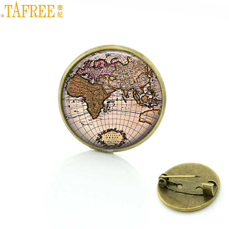TAFREE vintage World Travel City Map brooches New York Florence Finland Los Angeles Africa UK hometown map badge pins CT157