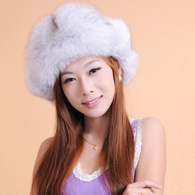 1e9947351a8 Russia winter white natural silver fox fur hat real blue fox beret cap for  women fashion accessories snow ski beanie headwear