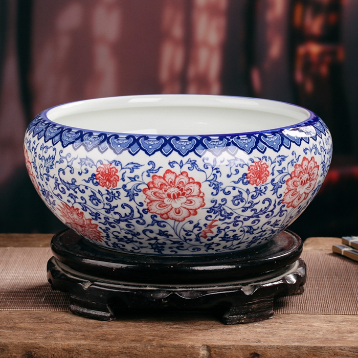 Chinese Antique Blue And White Porcelain Ceramic Fish Bowl Flower