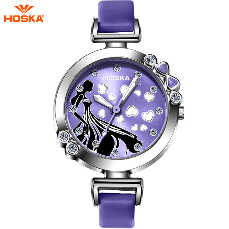 2016 HOSKA Brand Fantasia Halloween Cute Cinderella Diamante Girl Watch Pretty Princess Fashion Children Quartz Watch relogio hoska hd030b children quartz digital watch