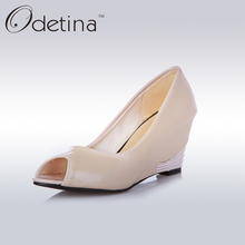 Odetina 2017 Fashion Women Peep Toe Wedges Pumps Ladies Spring Red High Heels Shoes Large Size Women Summer Dress Shoes Non-slip
