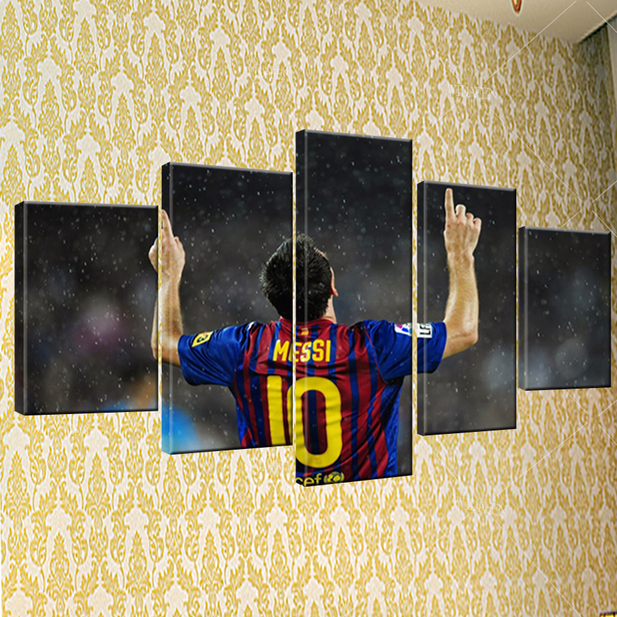 5 Piece Barcelona 2017 Footba Kanvas Dicetak Lukisan Untuk