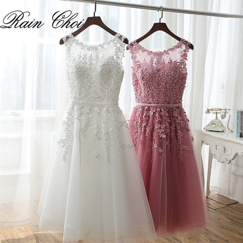Cocktail Dresses Hearty Socci Tulle Lace Appliques Short Cocktail Dresses Zipper Back A-line Formal Wedding Party Dress Pearls Beading Reception Gowns
