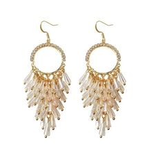 Korean New Trendy Hook Earrings Transparent Crystal Beads Long Statement For Women Fashion Jewelry