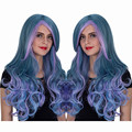 ECVTOP 26 inch Harajuku Ombre Blue and Purple Long Fluff  wave Wig for Women