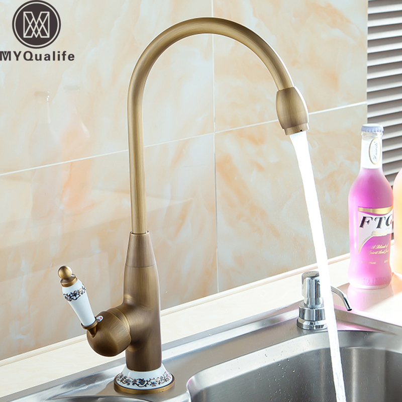 Modern 360 Rotating Kitchen Sink Faucet Single Ceramic Handle Bathroom Lavatory Mixer Water Crane Taps Deck