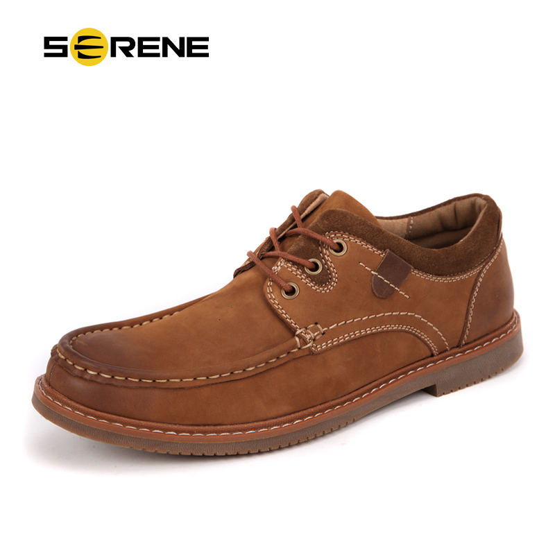 SERENE Brand Men Leather Shoes Trendy Men Casual Shoes Moccasins Retro Style Loafers Sapatos Hombre Big-size 38~44 Working Shoes big size 48 men flats shoes full grain leather shoes men shoes luxury brand black zapatos hombre sapatos masculino