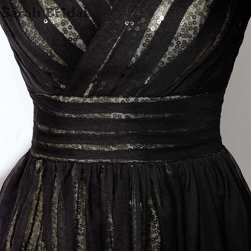94983f3002896 Sexy Backless Sequined Short Prom Dresses Real Photo Ballkleider V-neck  Black A-line Party Gowns Vestidos De Noche SD248